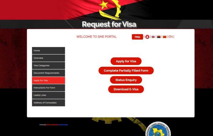 Скриншот сайта smevisa.gov.ao