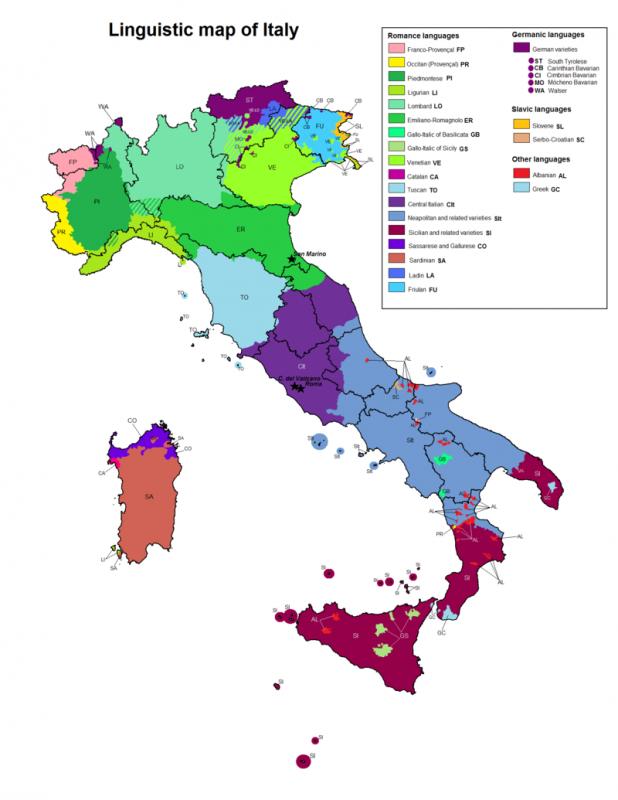 Лингвистическая карта Италии