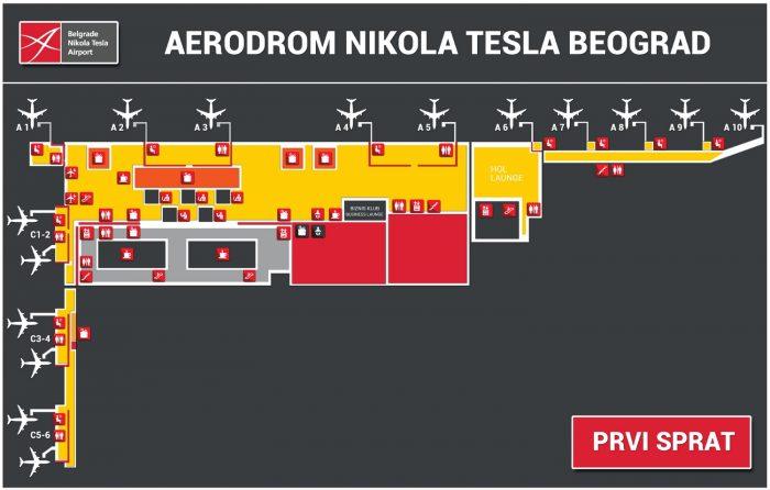 Схема аэропорта Белграда: нижний уровень