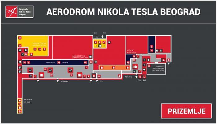Схема аэропорта Белграда: средний уровень
