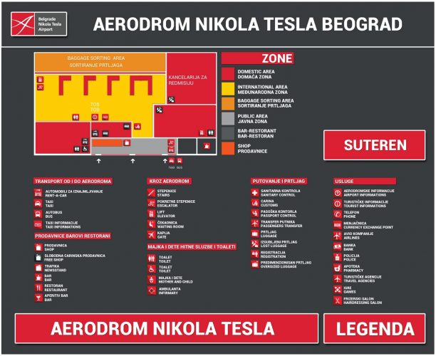 Схема аэропорта Белграда: верхний уровень
