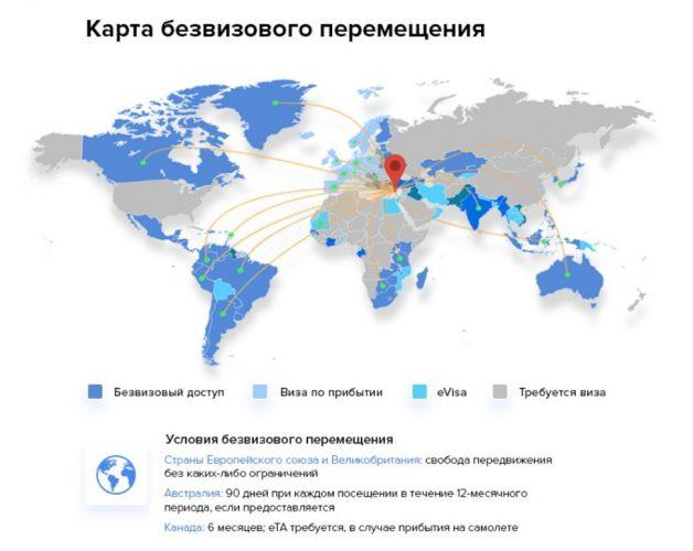 Карта безвизового перемещения. Кипр