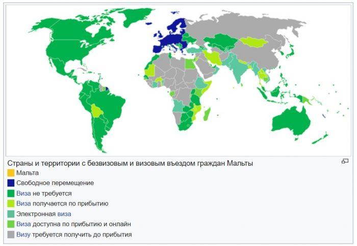 Страны и территории с безвизовым и визовым въездом граждан Мальты