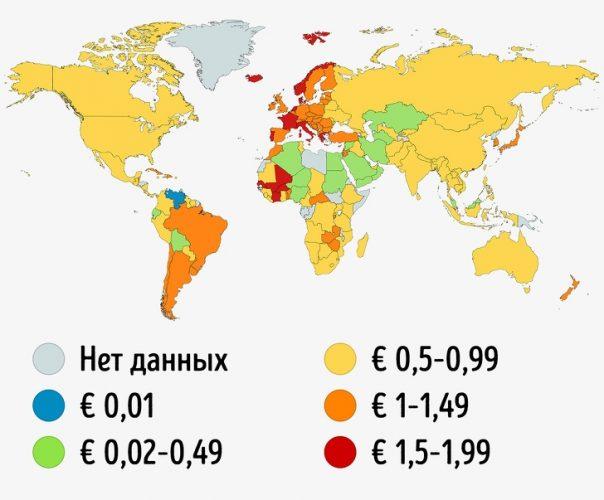 Сколько стоит 1 литр бензина в разных странах мира