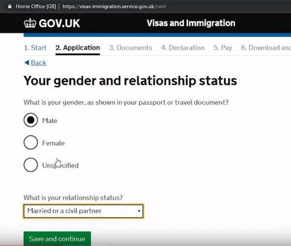 указывается пол, семейное положение и гражданство