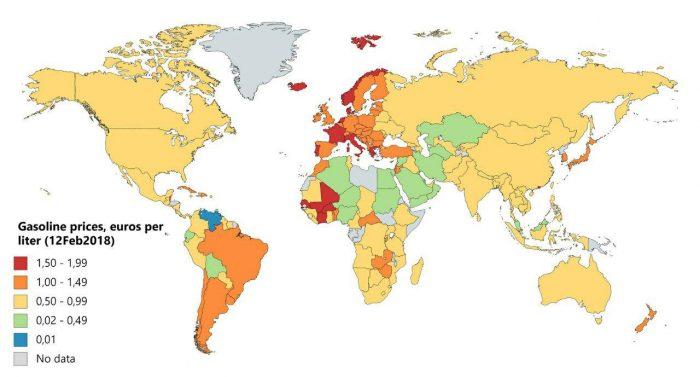 Стоимость бензина в мире
