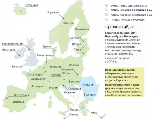 Страны входящие в Шенгенскую зону