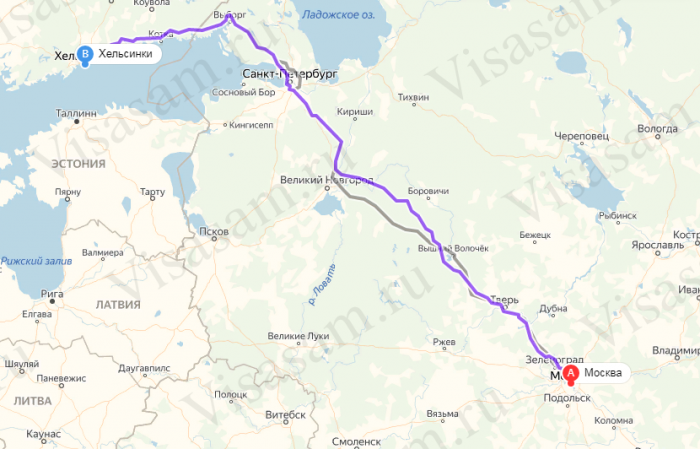 Москва-Хельсинки на карте