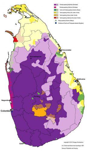 Географическое распределение языковых и религиозных групп населения Шри-Ланки