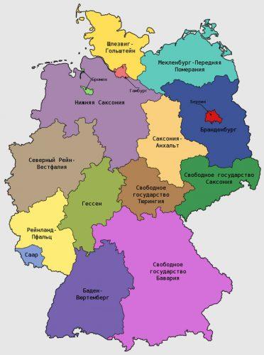 Административная карта Германии