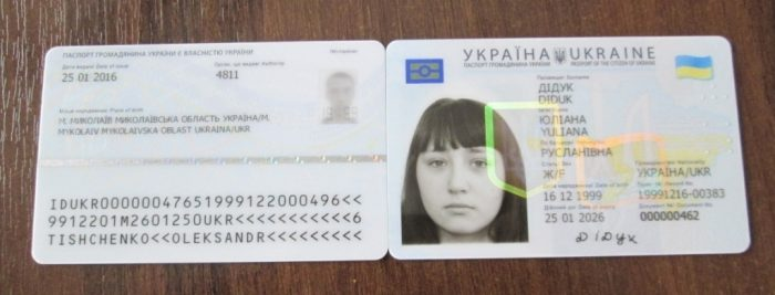 Лицевая и обратная сторона ID-карты