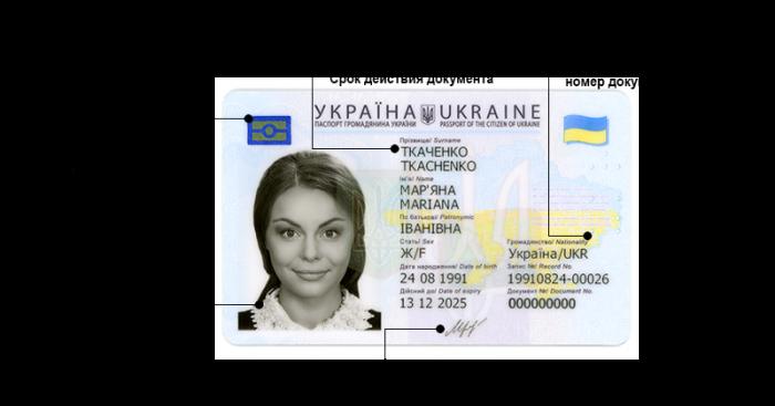 Обозначение на ID-карте Украины