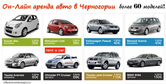 Предложения аренды авто в Черногории