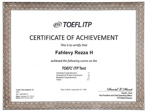 Сертификат TOEFEL