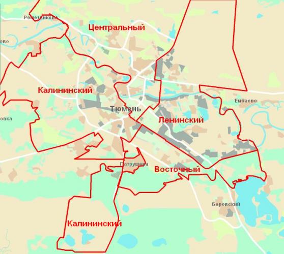 Районы Тюмени