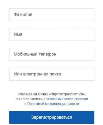 Окно регистрации на сайте госуслуг