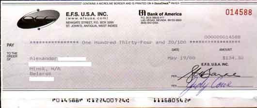 Банковский чек (Bank check)