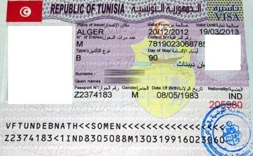 деловая виза в тунис