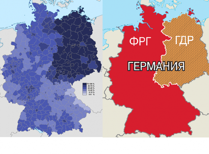 Процент атеистов на карте Германии