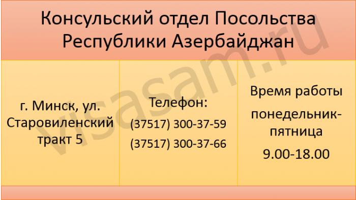 Контакты консульского отдела Посольства Республики Азербайджан