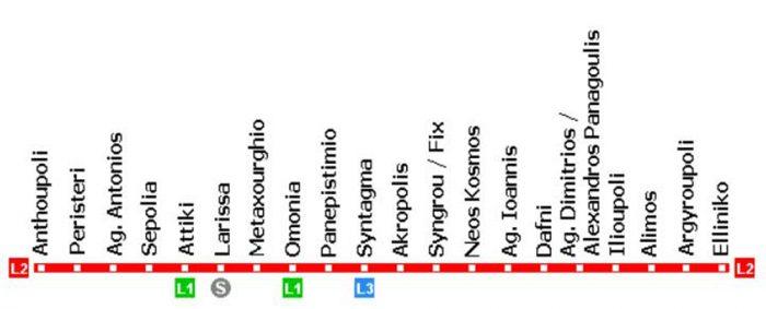 2 линия метро Афин