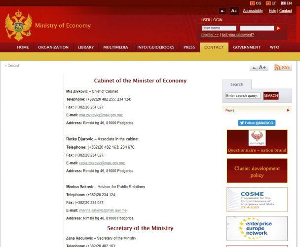 Скриншот сайта mek.gov.me