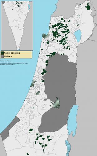 Карта - где говорят на арабском в Израиле