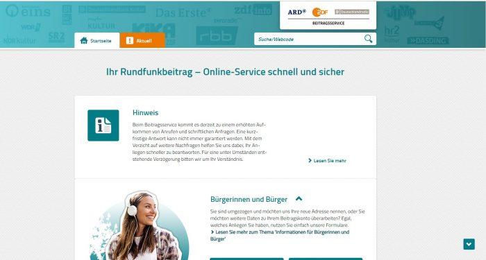 Скриншот сайта rundfunkbeitrag.de