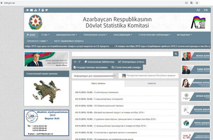 Скриншот сайта stat.gov.az