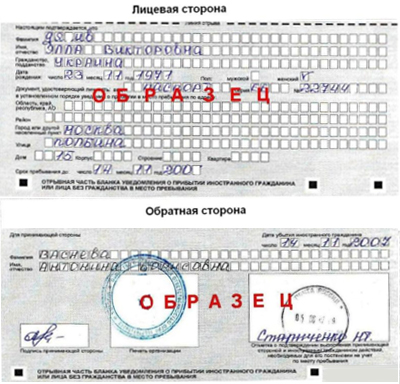 отрывная часть бланка уведомления о прибытии иностранного гражданина в РФ