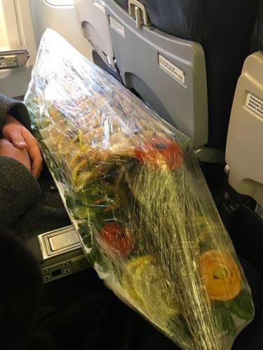 Сервированный осетр в салоне самолета