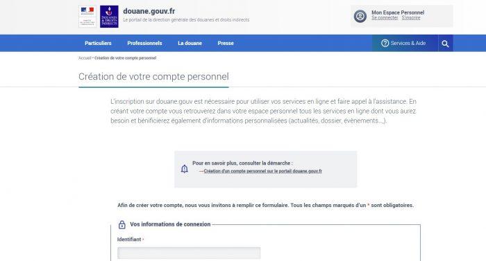 Скриншот сайта douane.gouv.fr