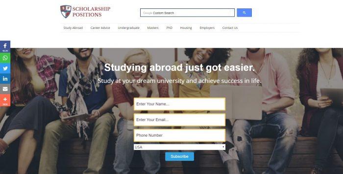 Скриншот сайта scholarship-positions.com