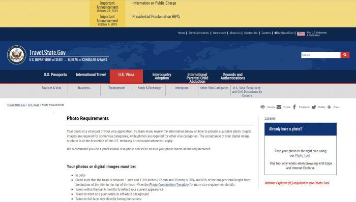 Скриншот сайта travel.state.gov