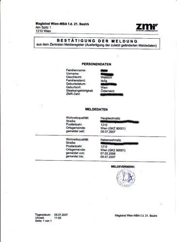 Регистрация по месту жительства в Австрии - meldezettel