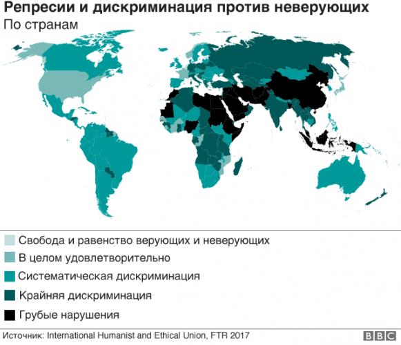 Дискриминация неверующих по странам