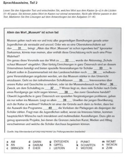 Одно из заданий в экзамене по немецкому языку ÖIF
