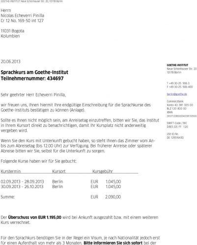 Приглашение на языковые курсы в Германии