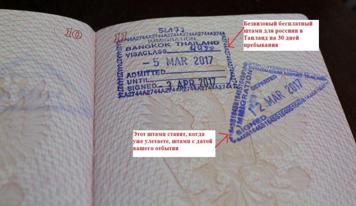 Штампы Таиланда в паспорте