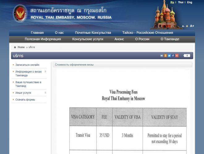 Скриншот сайта thaiembassy.org