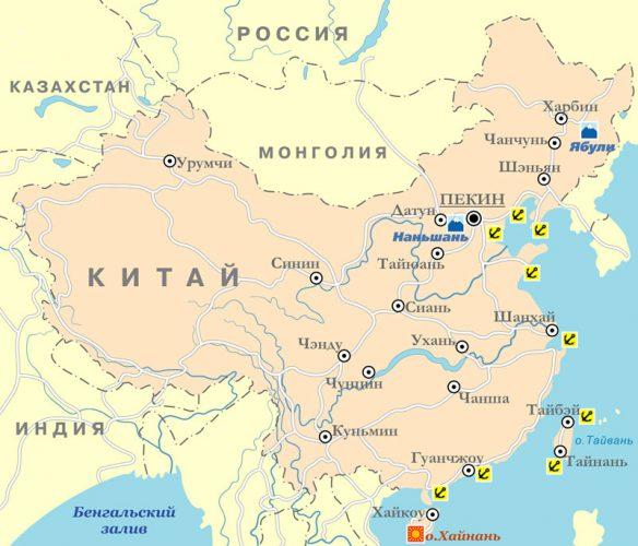 границы Китая на карте