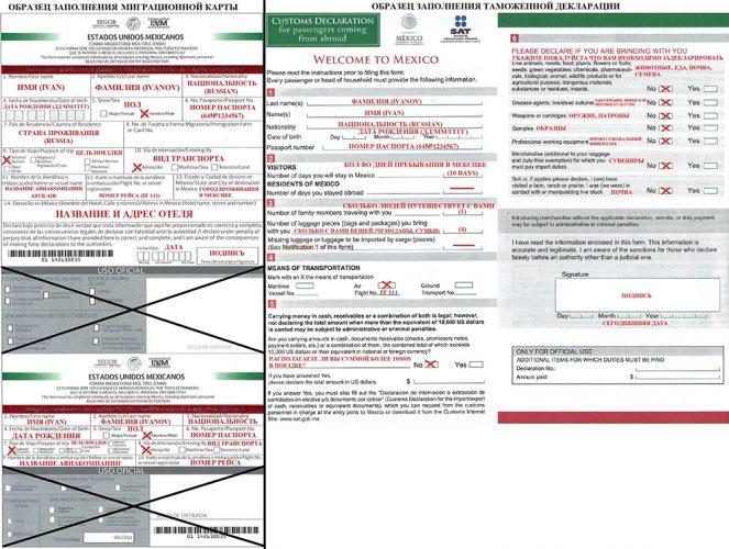 Образец заполнения миграционной карты и таможенной декларации