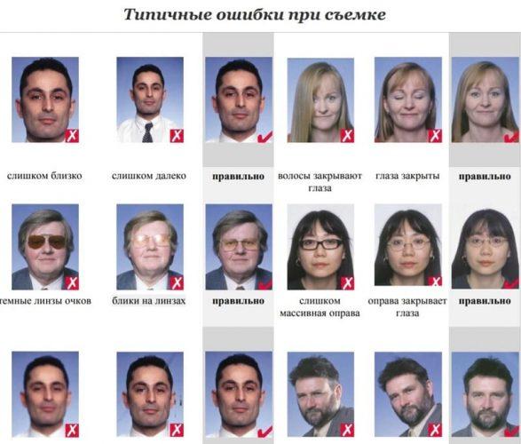 Ошибки на фото на визу