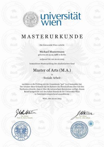 Австрийский диплом об окончании магистратуры