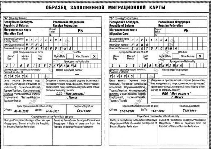 Миграционная карта РФ