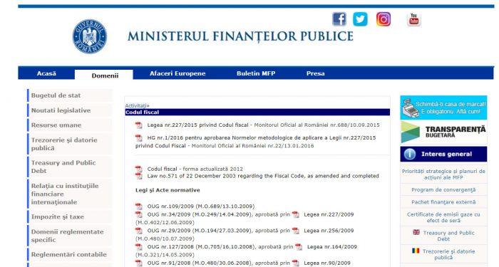 Скриншот сайта mfinante.gov.ro