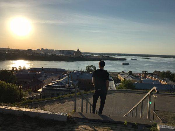 вид на Стрелку в Нижнем Новгороде